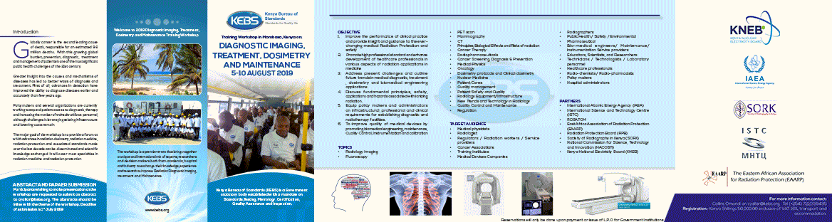 Diagnostic imaging, radiotherapy, dosimetry and maintenance, 5-10 august 2019