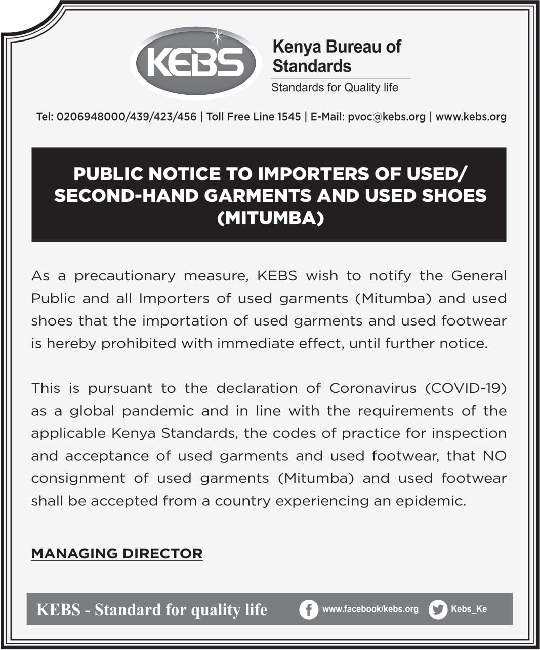 KEBS PVOC Agents and Zones